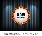 theater sign on curtain with... | Shutterstock .eps vector #674371747