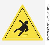 beware of slippery  caution wet ... | Shutterstock . vector #674372893