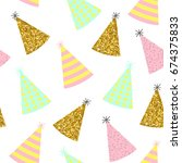 seamless pattern. caps for a... | Shutterstock .eps vector #674375833