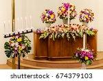 flower decorate on wedding... | Shutterstock . vector #674379103