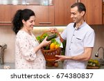 couple in kitchen interior with ... | Shutterstock . vector #674380837