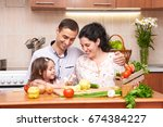 happy family with child in home ... | Shutterstock . vector #674384227