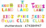 set of kids land and kids club...   Shutterstock .eps vector #674384947