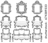 baroque furniture with... | Shutterstock .eps vector #674389333