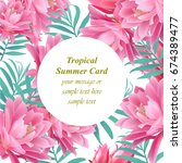 tropical vector floral round... | Shutterstock .eps vector #674389477