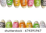 variety of the colorful leather ... | Shutterstock . vector #674391967