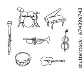 one line musical instruments... | Shutterstock .eps vector #674396743