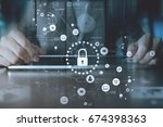cyber security internet and... | Shutterstock . vector #674398363