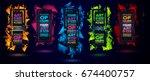 futuristic frame art design... | Shutterstock . vector #674400757