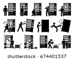 people with vending machine.... | Shutterstock .eps vector #674401537