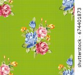 seamless floral pattern with... | Shutterstock .eps vector #674401873