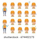 set of construction worker... | Shutterstock .eps vector #674402173