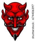 a devil cartoon character... | Shutterstock .eps vector #674406397