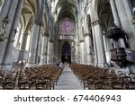 interior of the gothic... | Shutterstock . vector #674406943