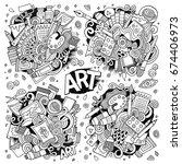 art and paint materials doodles ... | Shutterstock .eps vector #674406973