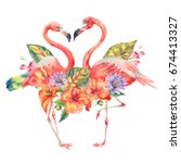 watercolor pink flamingo and... | Shutterstock . vector #674413327