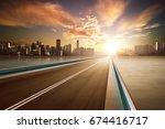 highway overpass motion blur... | Shutterstock . vector #674416717
