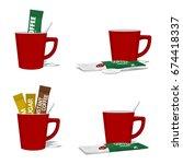 set composition of instant... | Shutterstock .eps vector #674418337