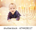 little child on blurred festive ... | Shutterstock . vector #674428117