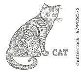 cat. design zentangle. hand... | Shutterstock .eps vector #674428573