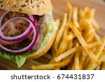 close up of onion in burger by...