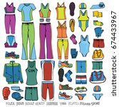 sport dress wear.hand drawn... | Shutterstock .eps vector #674433967