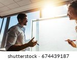 office colleagues discussing... | Shutterstock . vector #674439187