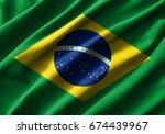 brazil flag painting on high... | Shutterstock . vector #674439967