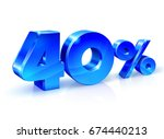 glossy blue 40 forty   percent... | Shutterstock .eps vector #674440213