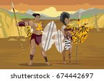 african hunter couple in the... | Shutterstock .eps vector #674442697