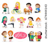 happy girls characters in... | Shutterstock .eps vector #674444143