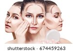 collage of woman's faces with...   Shutterstock . vector #674459263
