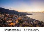 evening in cefalu  old town... | Shutterstock . vector #674463097