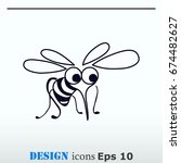 mosquito icon. leech icon. wasp ... | Shutterstock .eps vector #674482627
