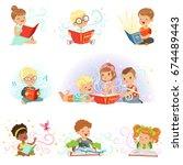 adorable little boys and girls... | Shutterstock .eps vector #674489443