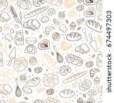 hand drawn fresh bakery pattern.... | Shutterstock .eps vector #674497303