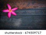 pink flower on wood | Shutterstock . vector #674509717