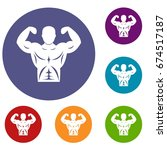 athletic man torso icons set in ... | Shutterstock .eps vector #674517187