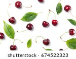 Ripe Cherry Berries And Cherry...