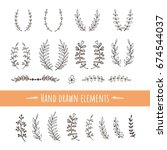 hand drawing elements with...   Shutterstock .eps vector #674544037