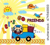 cute bear driving truck  kids t ... | Shutterstock .eps vector #674560003