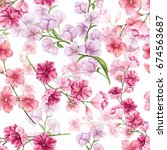 floral seamless pattern of... | Shutterstock . vector #674563687