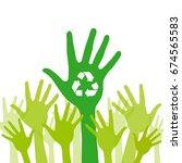 green helping hand background... | Shutterstock .eps vector #674565583