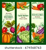 vegetable and farm veggies... | Shutterstock .eps vector #674568763