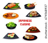 japanese cuisine seafood sushi... | Shutterstock .eps vector #674568937