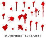 collection of dripping red... | Shutterstock . vector #674573557