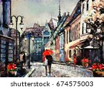 oil painting on canvas european ... | Shutterstock . vector #674575003