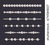 pearl beads set. glamour... | Shutterstock .eps vector #674584837