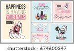 collection of manicure salon... | Shutterstock .eps vector #674600347