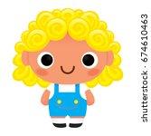 vector cartoon cute kid... | Shutterstock .eps vector #674610463
